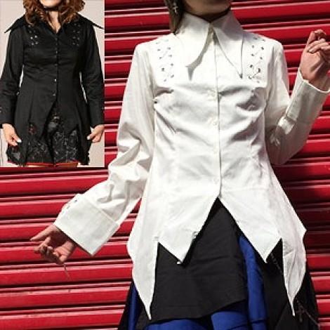 ロングポイントシャツジャケット ゴスロリ ロリータ パンク コスプレ 2色展開 m~4Lサイズあり
